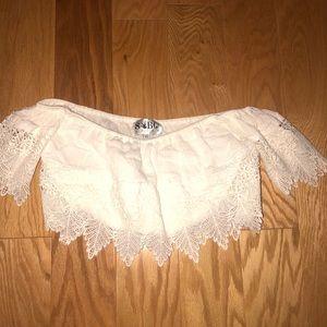Like new Sabo Skirt white lace Bardot sleeveless